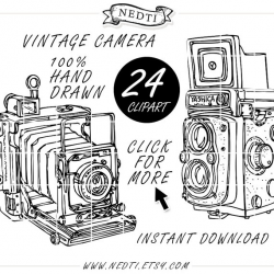 Vintage Camera Photography, Doodle Clip Art, Hand Drawn Clipart ...