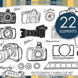Camera Photography Doodle Clip Art PNG Small Commercial Use