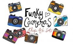 Hand drawn fun funky camera clipart, camera clip art, hand drawn cameras,  doodle camera clipart, camera graphics, digital hand drawn clipart