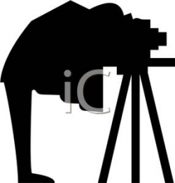 A Silhouette of a Man with an Old Fashioned Camera - Clipart