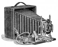 aged paper ephemera, old fashioned camera image, black and ...