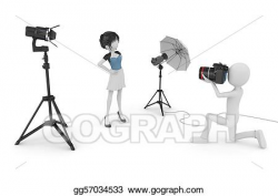 Stock Illustrations - 3d man and girl studio photo session. Stock ...