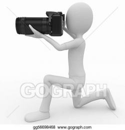 Drawing - 3d man with dslr camera. Clipart Drawing gg56698468 - GoGraph