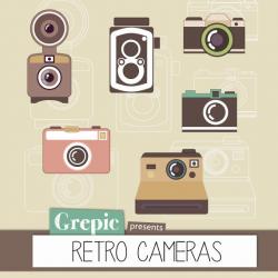 """Camera clipart: Digital retro camera clipart pack """"RETRO CAMERAS ..."""