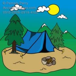 Clip Art Illustration of a Pup Tent at a Campsite