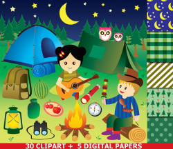 Camping Clipart , Camping Party Clipart ,Glamping Camp Clip art ...