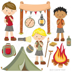 Boy Camp Trip Cute Digital Clipart Camping Clip Art Tent