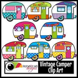 Vintage Camper Clip Art, Retro Camper Clipart by RebeccaB Designs