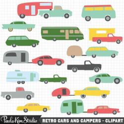 Vintage Camper and Car Clipart Retro RV Clip Art 5th Wheel