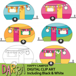 Clipart Happy Camper - Cute camping caravan RV clip art pastel colors