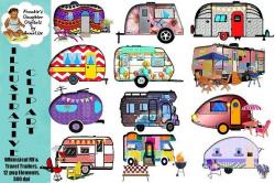 Whimsical RV Travel Trailer Clip Art by ...