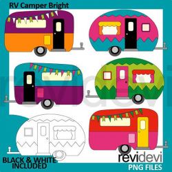 Happy Camper clipart, RV camping caravan clip art, retro ...