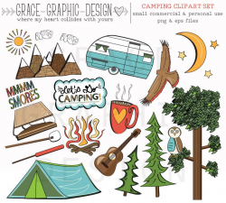 CAMPING CLIPART, camper clipart, nature clipart, digital illustrations,  instant download eps summer camping clipart set, digital paper pack