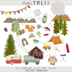 Camping CLIP ART- Happy Camper clipart- 30 hand drawn Png files ...