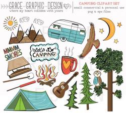 CAMPING CLIPART camper clipart nature clipart digital