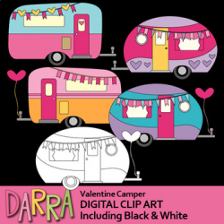 Valentine Camper Clip Art (RV Caravan Clipart) by DarraKadisha   TpT