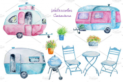 Watercolor Clipart Caravan ~ Illustrations ~ Creative Market