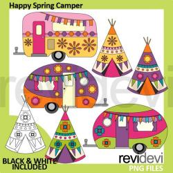 Spring Caravan Camper Clipart — mygrafico