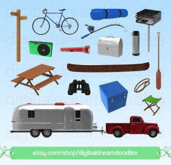 Camper Clipart, Vintage Camper Clipart, Retro Caravan Graphic ...