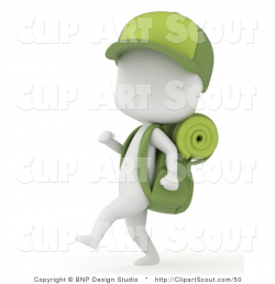 Clipart of a 3d Ivory Camper Boy Hiking with Gear and a Baseball Cap ...
