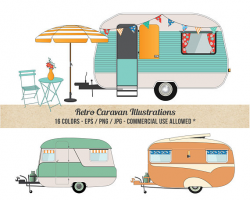 Caravan Clipart Camper Clipart Commercial Use Detailed
