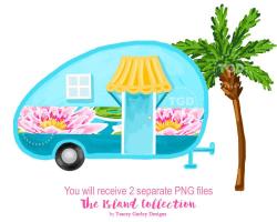 Glamping, vintage camper, Preppy clip art, camper clipart, tropical ...