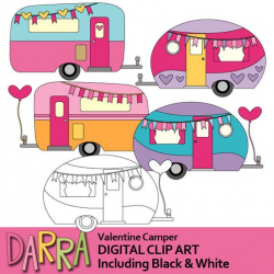 Lovely RV caravan clipart / Valentine camper clip art / RV