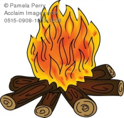 Clip Art Illustration of a Campfire With Orange Flames