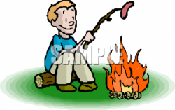 Cartoon Clipart Picture Of A Young Boy Cooking A Hotdog Over A ...