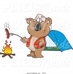Clipart of a Cartoon Koala Roasting a Hot Dog over a Camp Fire by ...