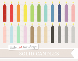 Birthday Candle Clipart, Solid Cake Candle Clip Art Party Invitation ...