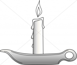 Single Candle in Dish | Church Candle Clipart