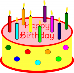 Clipart - Flickering Candle Birthday Cake