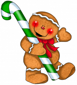 Gingerbread Ornament with Candy Cane PNG Clipart   Gallery ...