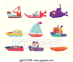 Vector Art - Water transport toy boats set. Clipart Drawing ...