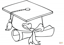 Graduate Cap with Diploma coloring page | Free Printable Coloring Pages
