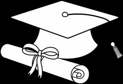Flying Graduation Caps Clip Art   Graduation Cap Line Art - Free ...