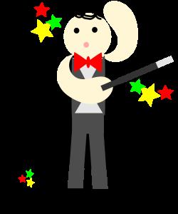 Clipart - cute magician in a black cape with a stick