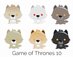 Game of Thrones Clipart Direwolves: Summer Ghost Grey