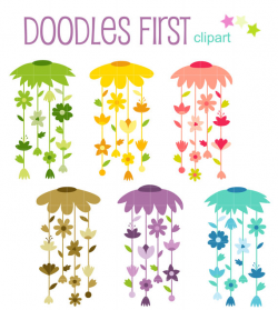 Floral Wind Chimes Digital Clip Art for Scrapbooking Card