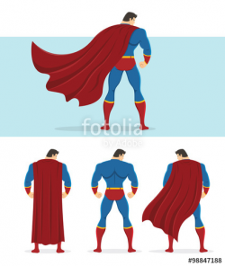 Rear view of superhero with red cape flowing in the wind. Below are ...