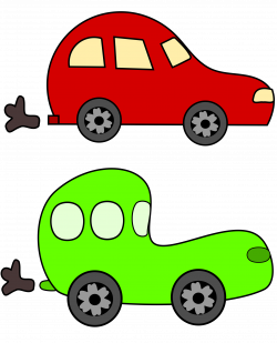 Clipart - cartoon green and red cars