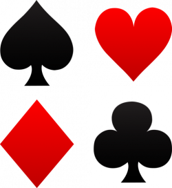 Free clip art of red and black playing card suits - spades, hearts ...