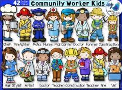 Community Worker Kids Clip Art Set (42 graphics)   Community ...