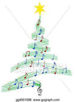 Clipart - Carol music christmas tree. Stock Illustration gg4051098 ...