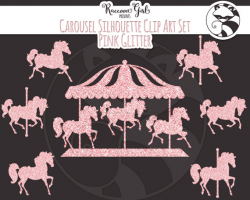 Pink Glitter Carousel Clip Art Set - Personal & Commercial Use from ...