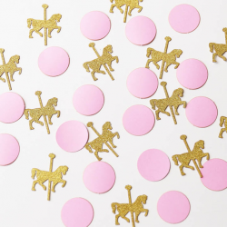 Pink and gold glitter carousel horse Confetti,Birthday decoration ...