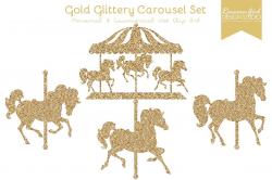 Gold Glitter Carousel Clip Art Set | Carousel, Clip art and Carousel ...