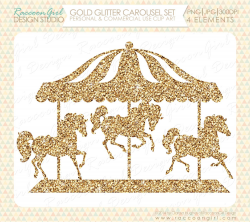 Gold Glitter Carousel Clip Art Set Personal by RaccoonGirlDesign ...
