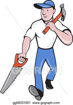 Drawing - Carpenter tradesman worker hammer and saw walking. Clipart ...